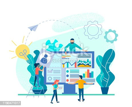UI UX Design and Programming solution Web Business Concept Vector Illustration Tiny people develop a website concept for a successful startup, financial analytics and recruitment online website