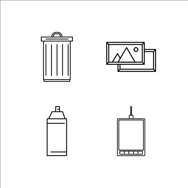 Design And Studio simple linear icon set.Simple outline icons vector art illustration