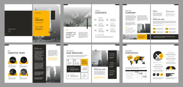 design annual report cover book vector template - annual reports templates stock illustrations
