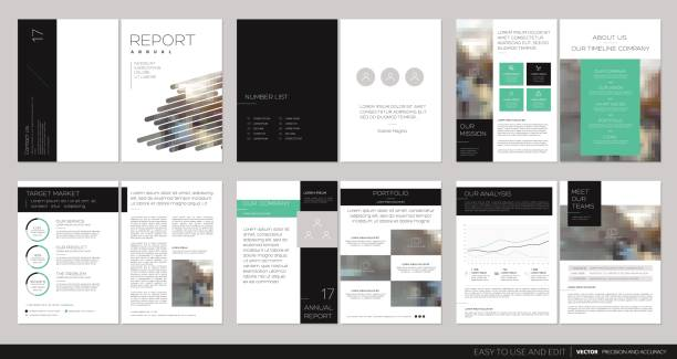 design annual report, flyer, brochure. - brochure templates stock illustrations, clip art, cartoons, & icons