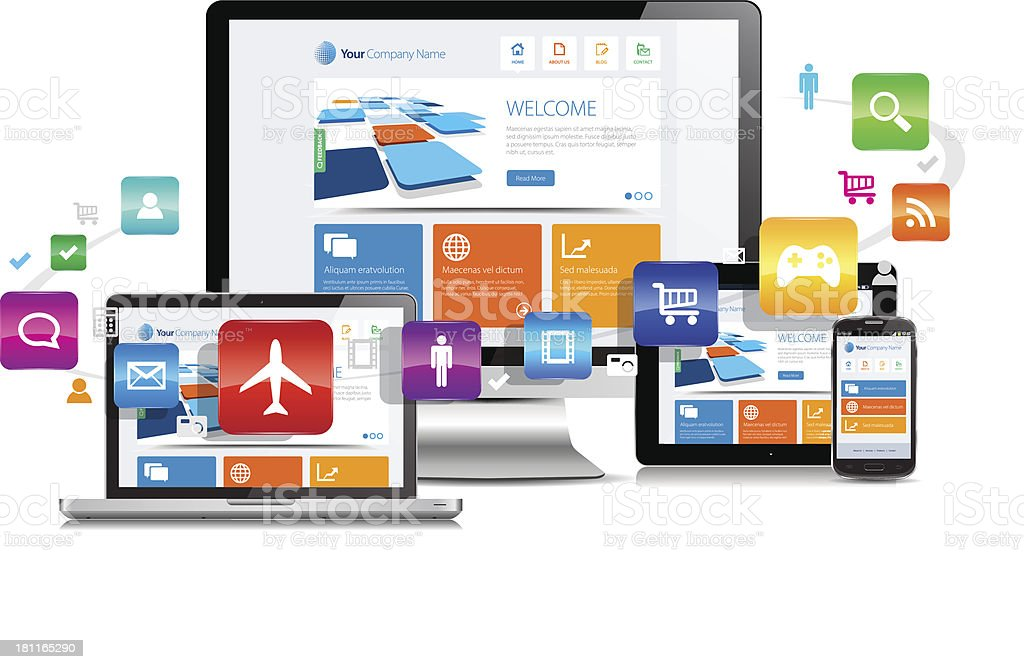 Design apps on various media devices vector art illustration