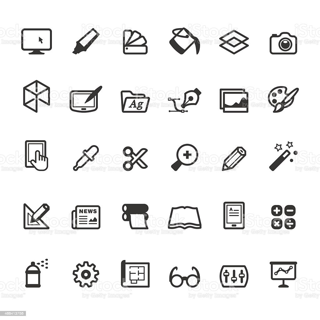 Design, Art and Craft icons - Linear style vector art illustration