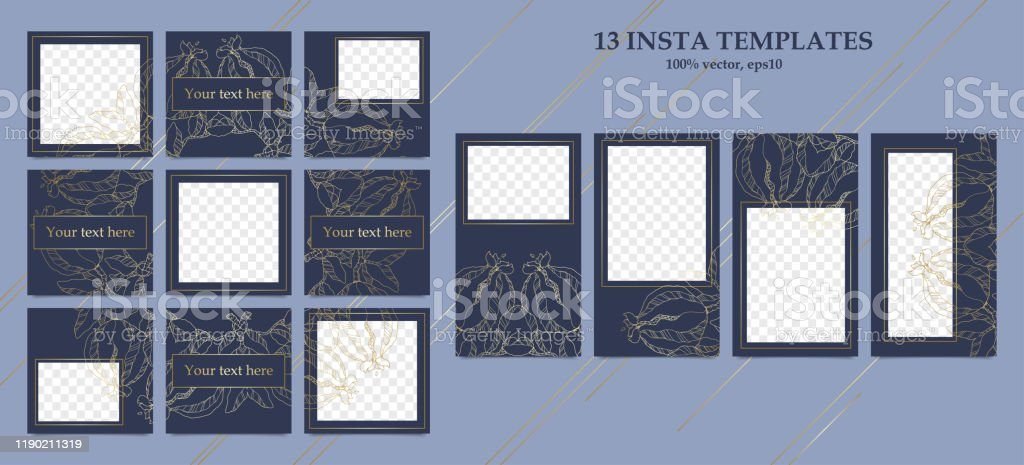 Design Backgrounds For Insta Set Stories And Post Frame Templates Stock Illustration Download Image Now Istock