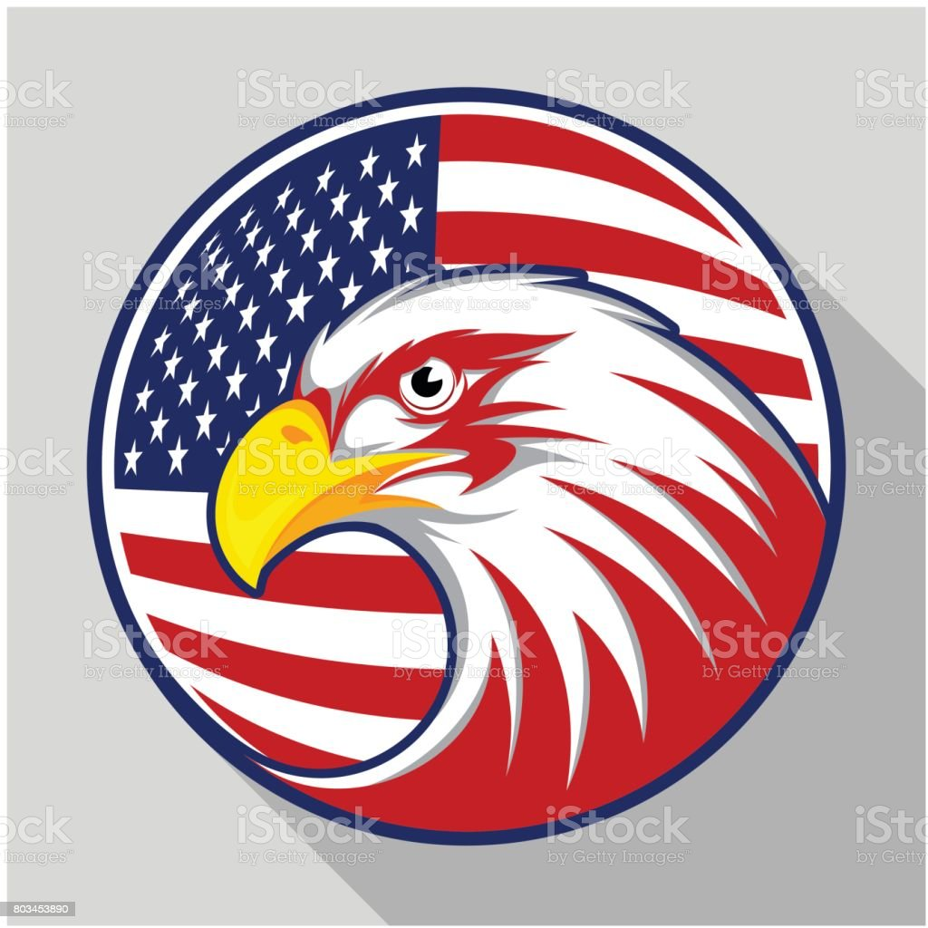 Design badge circle with eagle and the American flag, visualized in flat design style vector art illustration