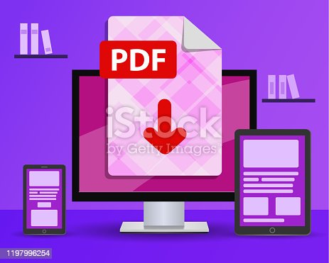istock Design banner - download PDF file. desktop computer in the room is standing on the table 1197996254