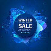 Design banner with abstract elements for the happy new year sale on a background of blurred splashes with a gradient and blue waves. Template for winter promotion. Season winter concept. Vector.