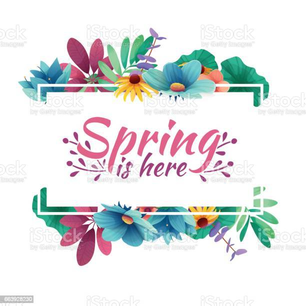 Design banner with spring is here icon card for spring season with vector id663928230?b=1&k=6&m=663928230&s=612x612&h=jpv6w5udrxxuyvsjt 8klhk5jj5v9r3srn8ljjk u6o=