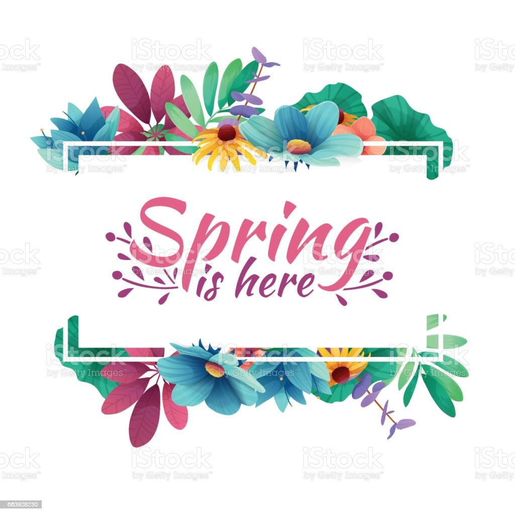 Design banner with  spring is here Icon. Card for spring season with white frame and herb. Promotion offer with spring plants, leaves and flowers decoration.  Vector vector art illustration