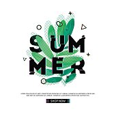 Design banner with Summer text. Glitch texture text with plant decoration. Template seasons poster with green leaf and geometric shape on white backgraund. Vector