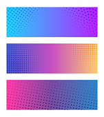 Vector illustration of a set of design banners with halftone and texture effects