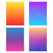 Vector illustration of a set of halftone design banners