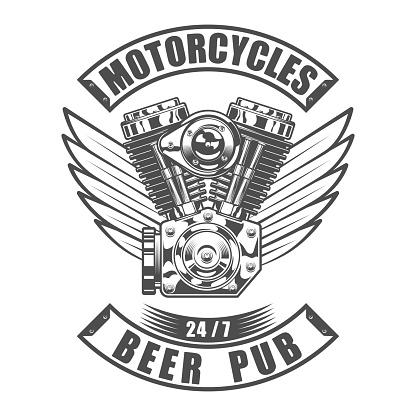 Design beer bar emblem in vintage monochrome motorcycle style. Beer pub logo vector illustration.