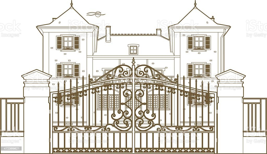 Design behind the castle gate vector art illustration