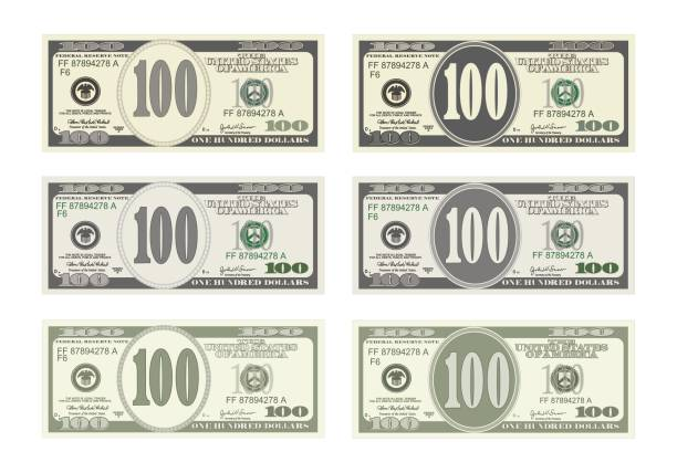 Design bill one hundred dollars in six options. 100 Dollars Banknote. Design bill one hundred dollars in six options. Suitable for discount cards, leaflet, coupon, flyer, vouchers, gift card. Vector in flat style. USD isolated on white. Horizontal. american one hundred dollar bill stock illustrations