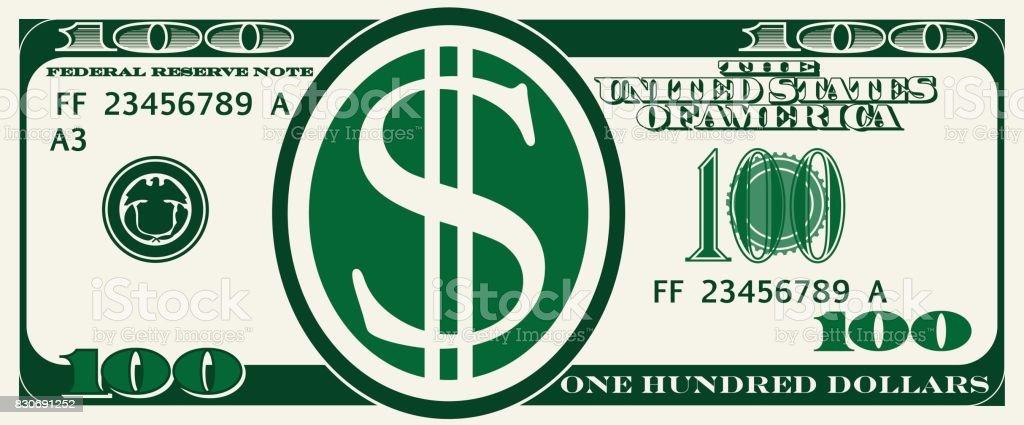 Design bill one hundred dollars vector art illustration