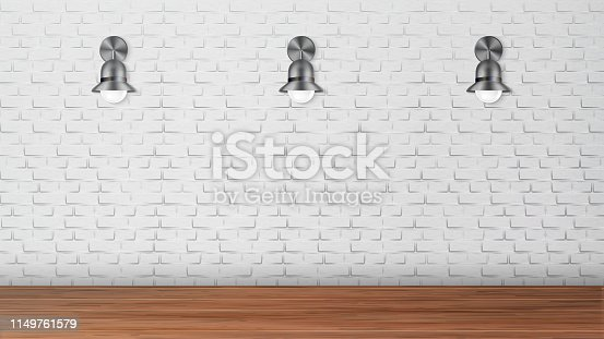 Design Black Sconces On White Brick Wall Vector. Creative Outdoor Elegant Decoration Light Equipment With Circle Bulbs On Building Wall. Country House Style Realistic 3d Illustration