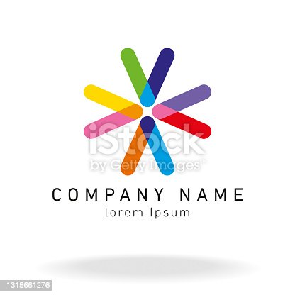 istock Design Brand Overlapping One Line Colour 1318661276