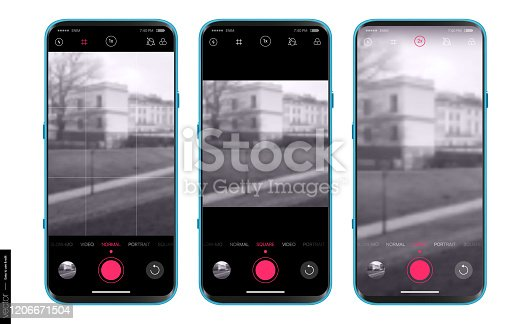 istock UI UX Design camera app for mobile. Shooting modes: normal, portrait, square, video and advanced settings. Mobile app design. Mockups Set 1206671504