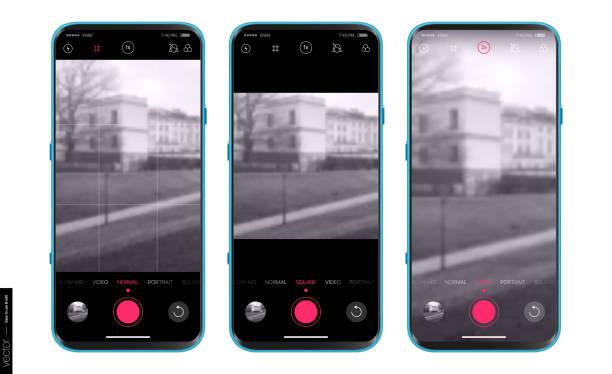 ilustraciones, imágenes clip art, dibujos animados e iconos de stock de ui ux design aplicación de cámara para móviles. modos de disparo: normal, vertical, cuadrado, vídeo y ajustes avanzados. diseño de aplicaciones móviles. conjunto de mockups - zoom call