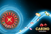 Design casino banner with roulette and poker chips. Vector illustration wheel fortune in casino on blue neon background