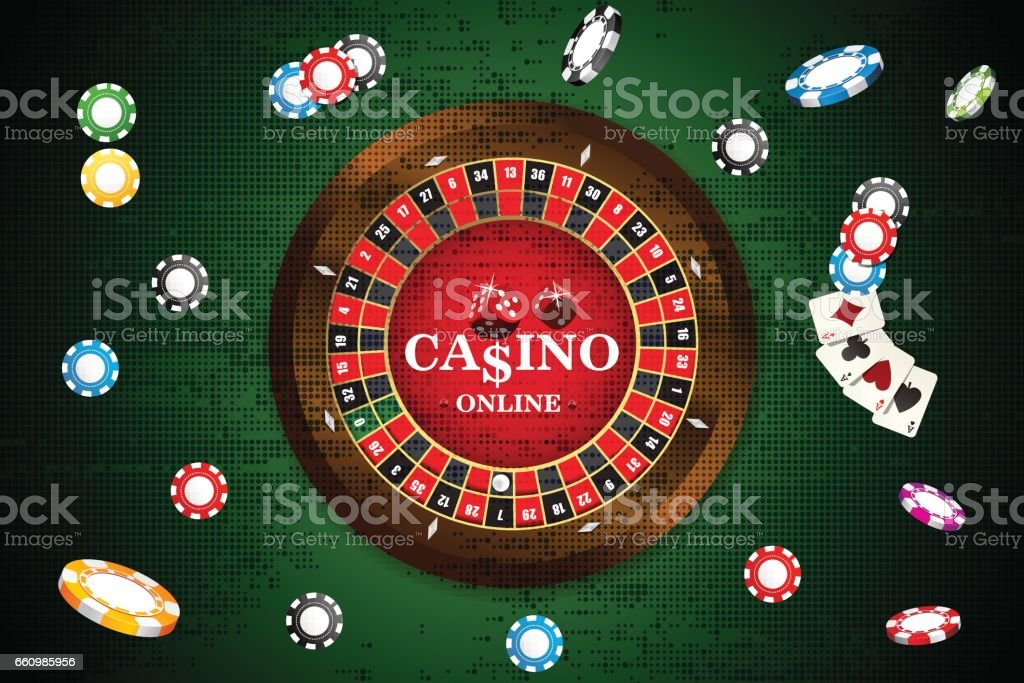 Design casino banner with roulette, dice, casino chips, playing cards for poker. Vector illustration vector art illustration
