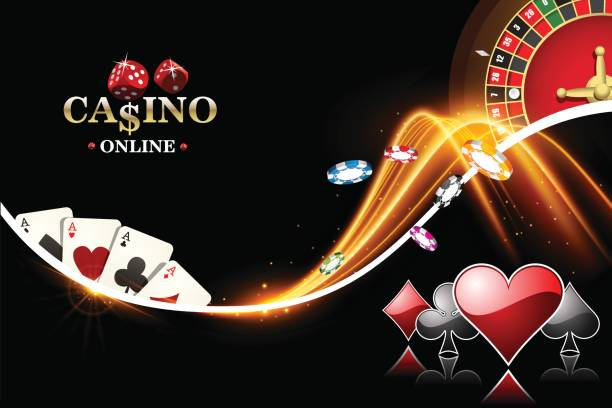 Design casino banner with roulette, poker chips, playing cards. Vector the wheel fortune in casino Design casino banner with roulette, poker chips, playing cards. Vector the wheel fortune in casino casino stock illustrations