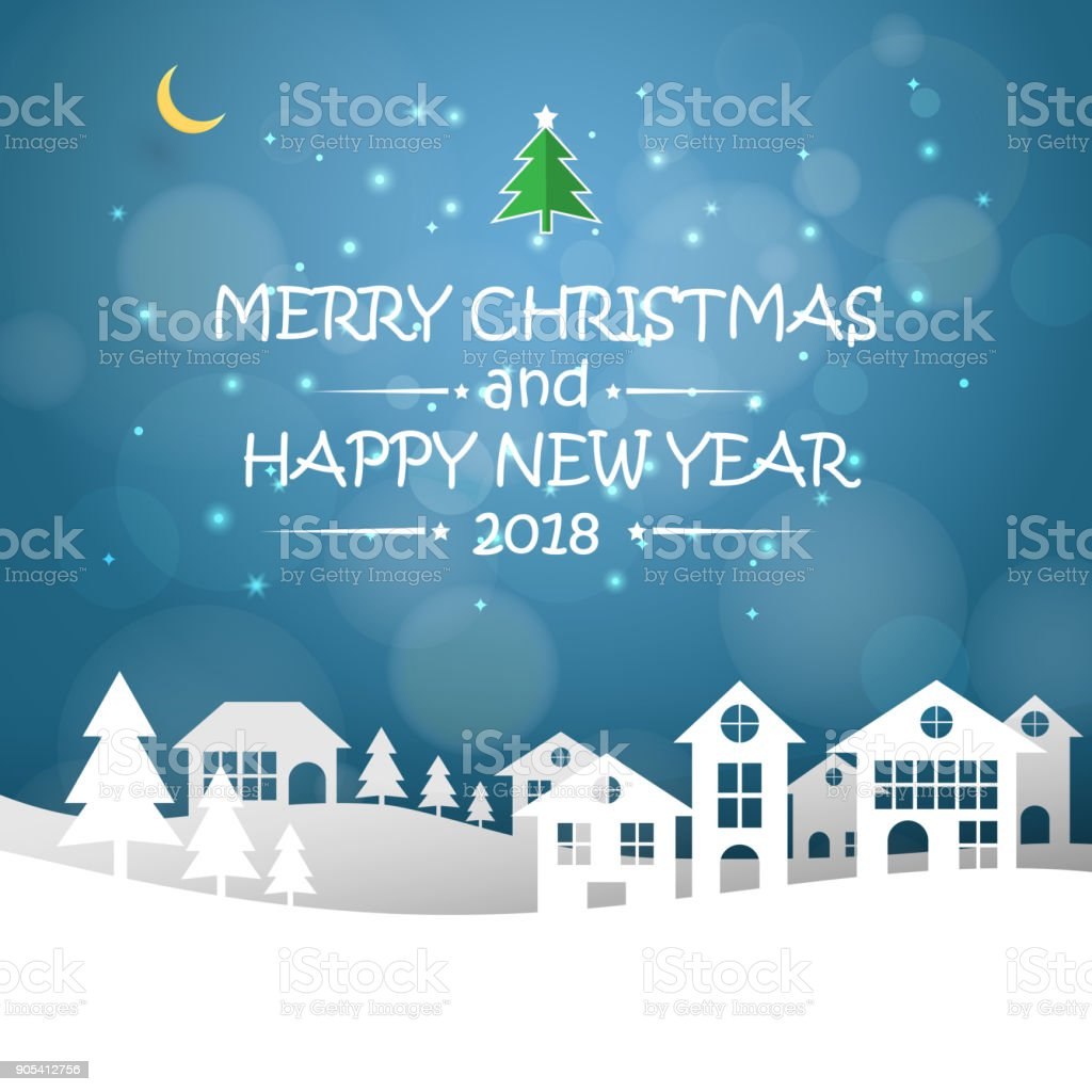 design christmas greeting card and 2018 happy new year message vector illustration royalty