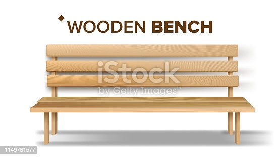 Design Classical Handicraft Wooden Bench Vector. Relaxation Yellow Bench Decoration Element Of Patio, Garden And Park. Exterior Comfortable Furniture For Rest Realistic 3d Illustration