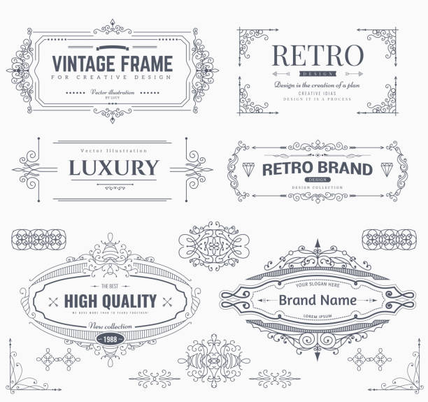 design collection of vintage patterns - architecture borders stock illustrations