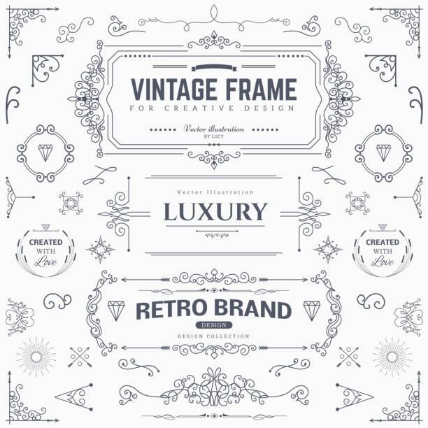 ilustrações, clipart, desenhos animados e ícones de coleção de vintage padrões de design - bordas florais