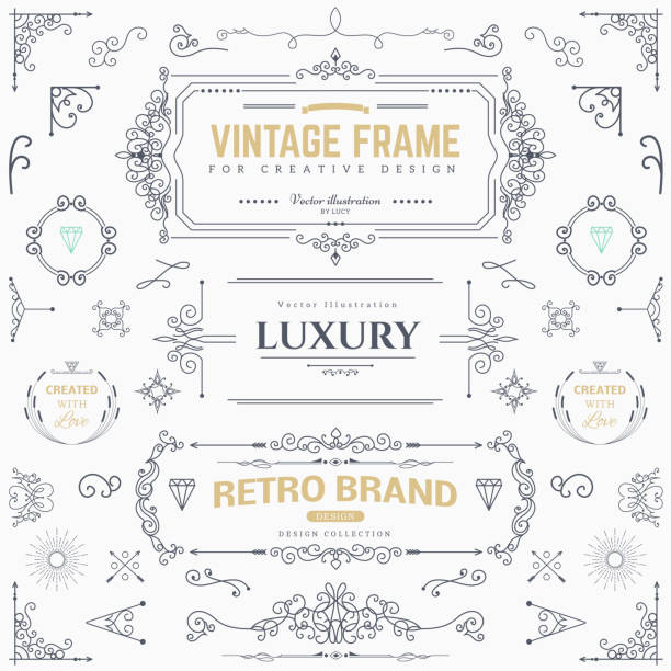 Design collection of vintage patterns Collection of vintage patterns. Flourishes calligraphic ornaments and frames. Retro style of design elements, postcard, banners. Vector template book borders stock illustrations