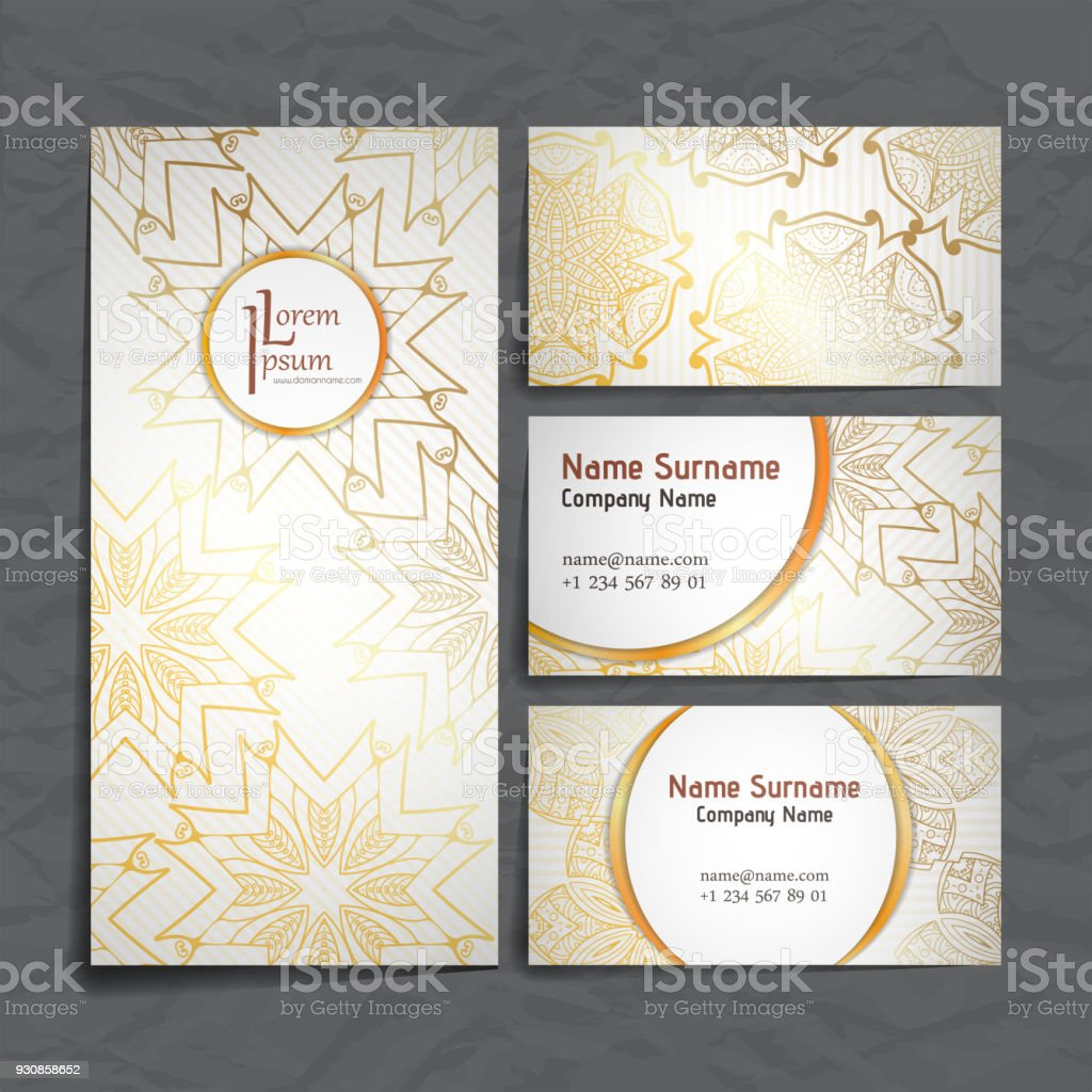 Design Collection With Mandala Symbols Set Of Business Cards With ...