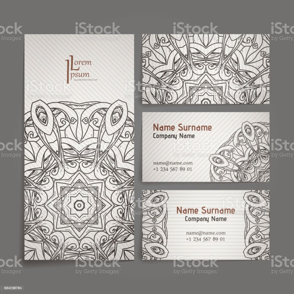Design collection with mandala symbols set of business cards with design collection with mandala symbols set of business cards with circle ornament royalty reheart Images