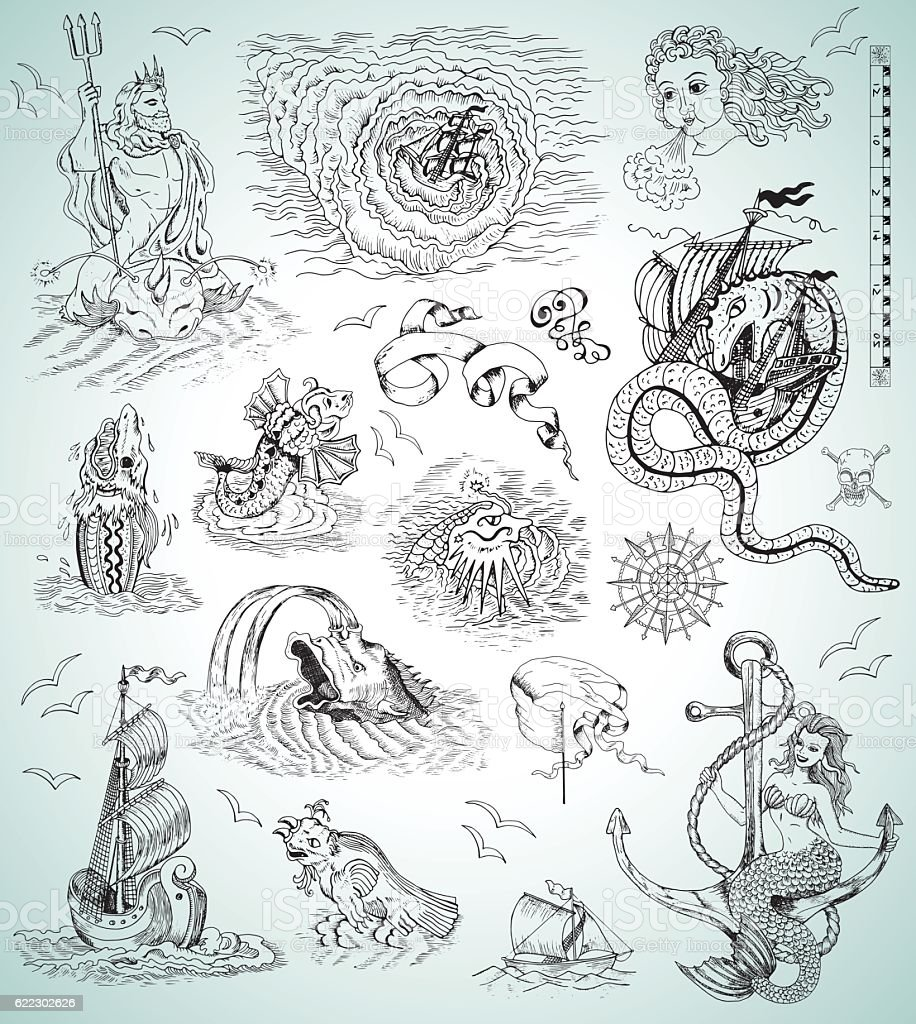 Design collection with sea mythologycal creatures, ships, mermaid and symbols vector art illustration
