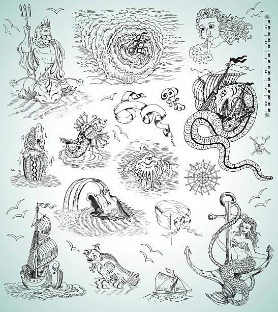 design collection with sea mythologycal creatures, ships, mermaid and symbols - mythology stock illustrations