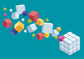 Vector Illustration of a Beautiful Composition of a Chaotic and Organized Coloured Design Cubes