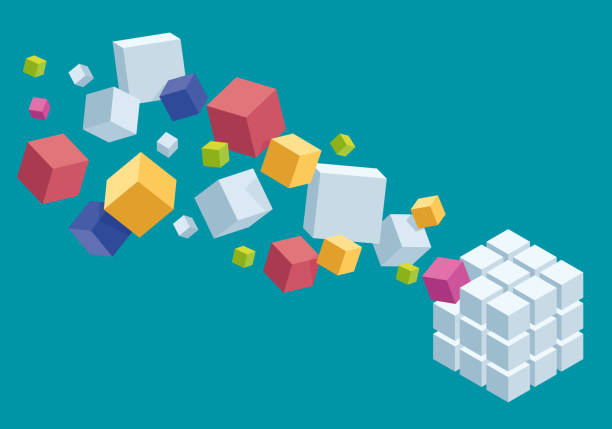 Design Composition of a Chaotic and Organized Coloured Cubes Vector Illustration of a Beautiful Composition of a Chaotic and Organized Coloured Design Cubes cube shape stock illustrations