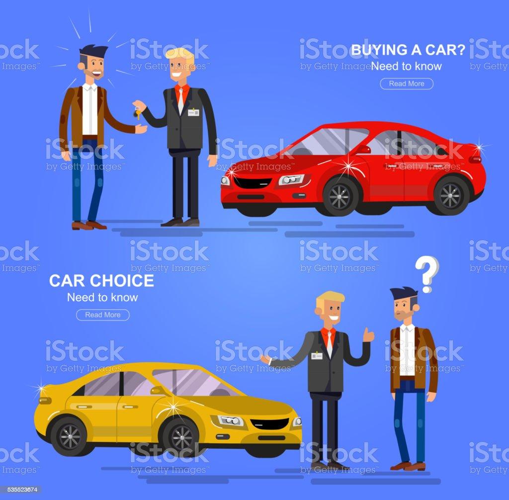 design-Konzept der Wahl und der Kauf eines neuen Autos – Vektorgrafik