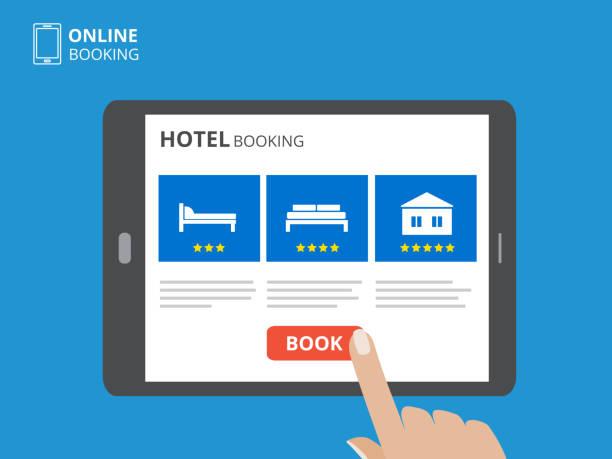 bildbanksillustrationer, clip art samt tecknat material och ikoner med designkoncept av hotellbokning online. surfplatta med hand att vidröra en skärm. display med bok knappen och säng ikoner. - on demand