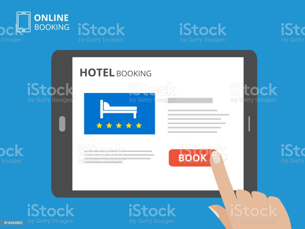 Design concept of hotel booking online. Tablet computer with hand touching a screen. Display with book button and bed icons. vector art illustration