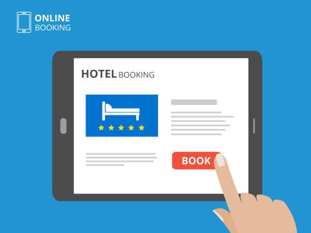 デザイン コンセプトのホテルがオンライン予約します。画面に触れての手でタブレット コンピューター。本ボタンとベッドのアイコンが表示されます。 - スマホ ベッド点のイラスト素材/クリップアート素材/マンガ素材/アイコン素材