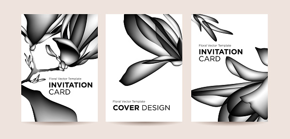 Design concept  of invitation cards or covers with magnolia flowers
