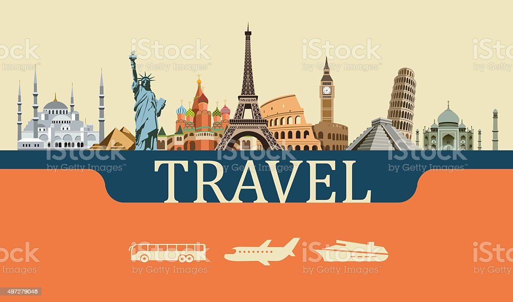 Design-Konzept für Reisen, Wahrzeichen weltweit – Vektorgrafik