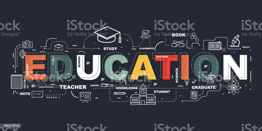 Design-Konzept des Wort-EDUCATION-Website Banner. Lizenzfreies designkonzept des worteducationwebsite banner stock vektor art und mehr bilder von akademisches lernen