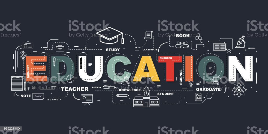 Design Concept Of Word EDUCATION Website Banner. royalty-free design concept of word education website banner stock illustration - download image now