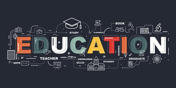Designkonzept Des Worteducationwebsite Banner Stock Vektor Art und mehr Bilder von Akademisches Lernen