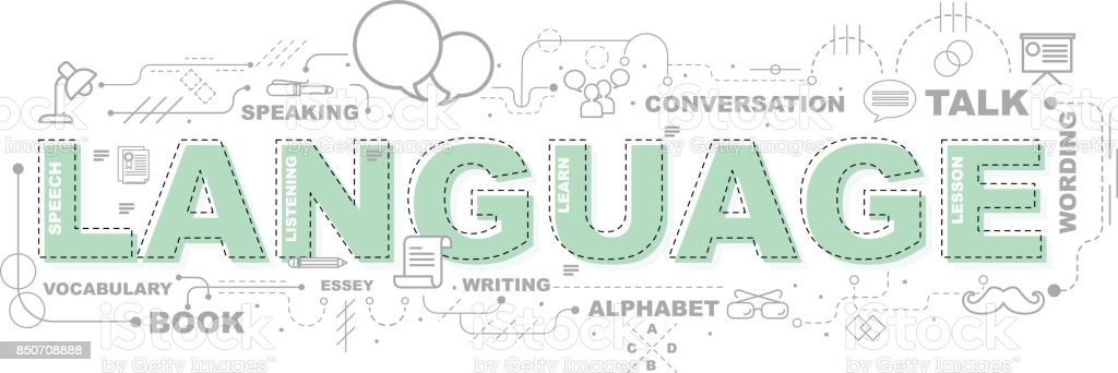 Conceito de design da palavra LANGUAGE site Banner. - ilustração de arte em vetor