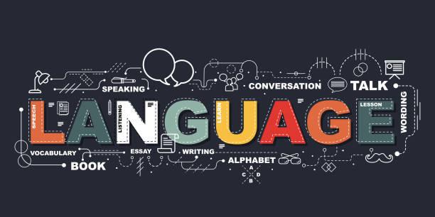 単語言語ウェブサイトのバナーのデザイン コンセプト。 - 語学の授業点のイラスト素材/クリップアート素材/マンガ素材/アイコン素材