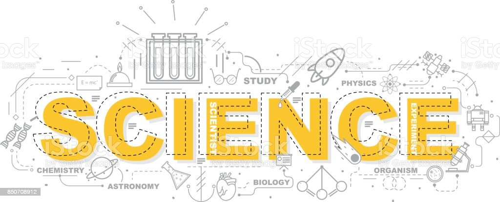 Design-Konzept des Wort SCIENCE Website Banner. – Vektorgrafik