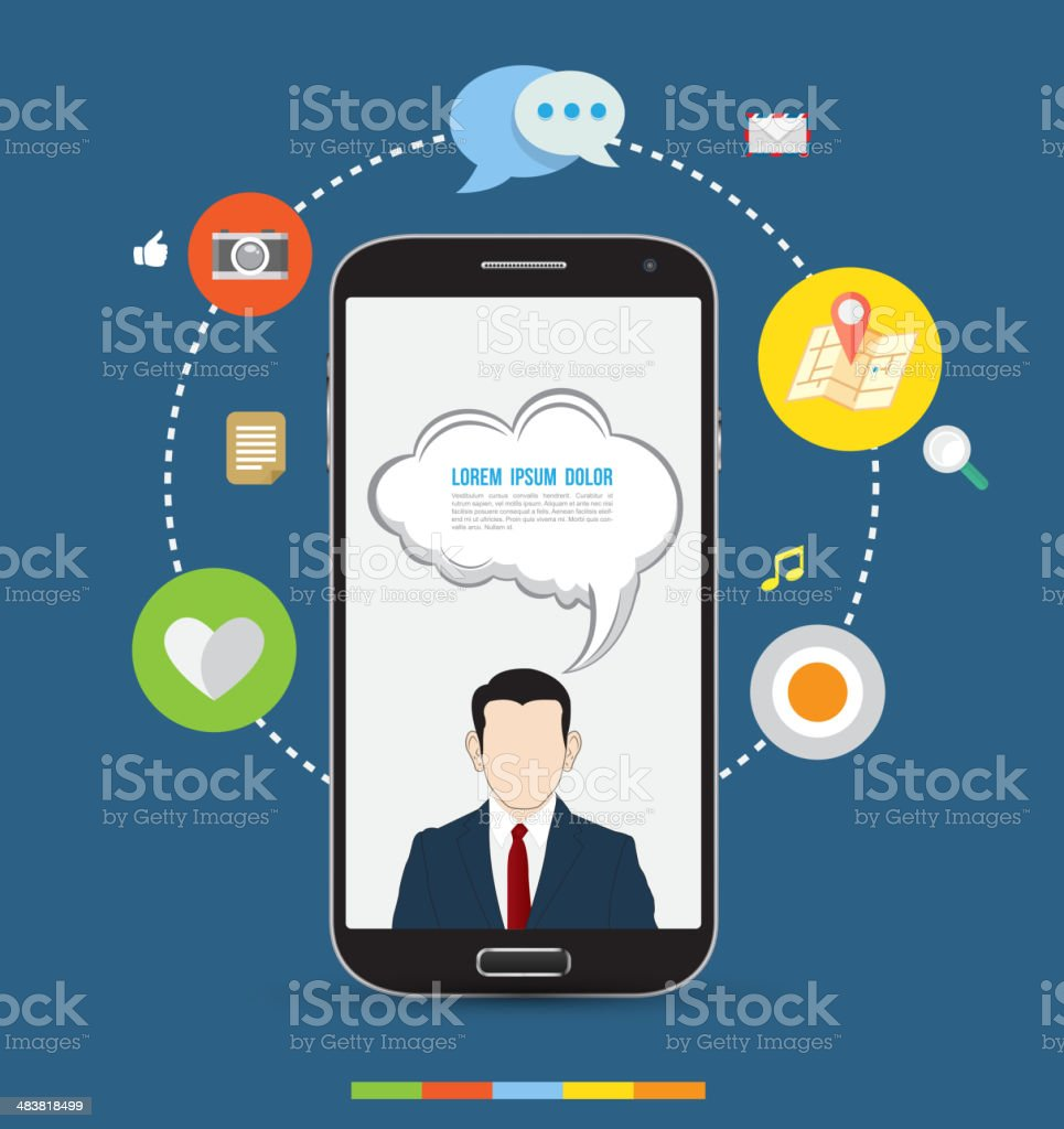 Design concept smartphone with icons vector art illustration